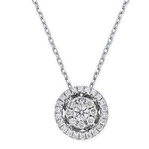 Diamond cluster halo 14k 1/4 ct necklace w/chain